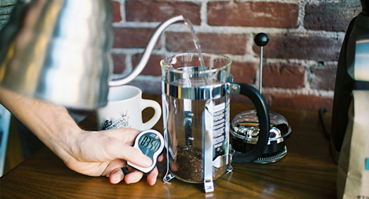 French Press coffee brewing